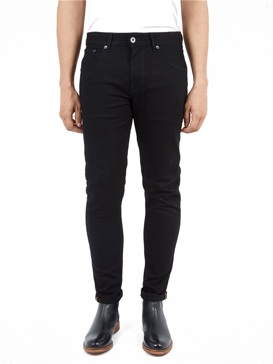 SKINNY STRETCH BLACK RINSE JEANS