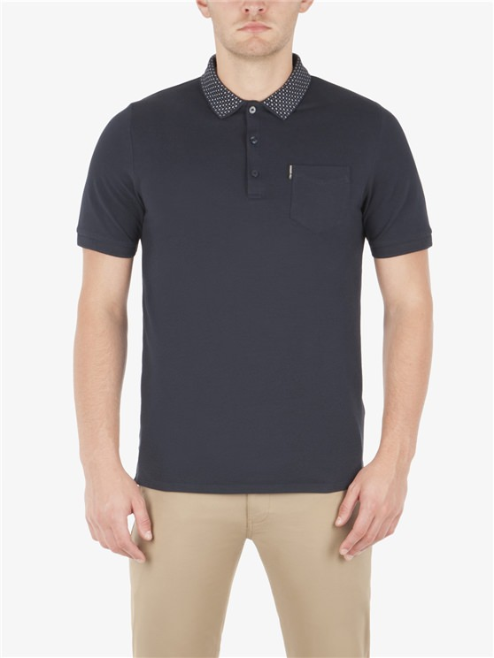 PIQUE POLO WITH PRINTED COLLAR